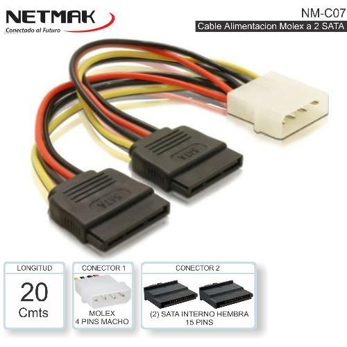 CABLE FUENTE 5.25 MOLEX A SATA X2 NM-C07