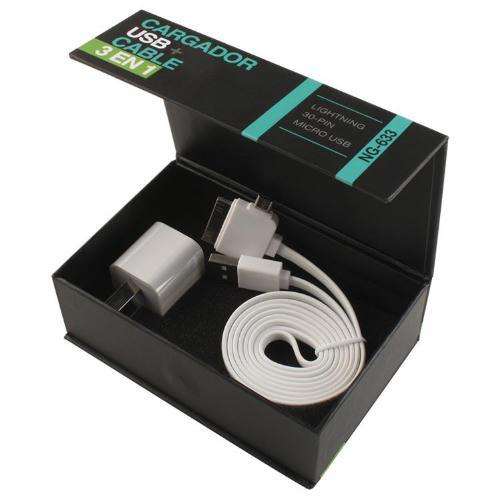 CARGADOR USB 220V + CABLE 3 EN 1 5V 1A