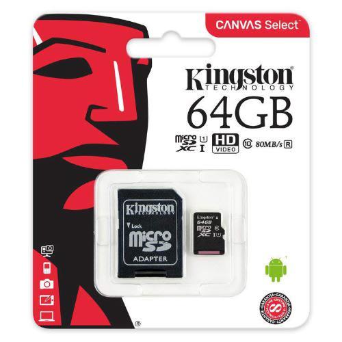 MEMORIA 64GB MICRO SD XC I CLASE 10 80MBS CANVAS